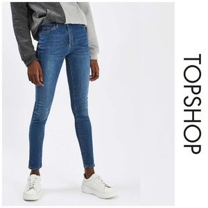TOPSHOP MOTO Mid Blue Leigh Skinny Jeans 28